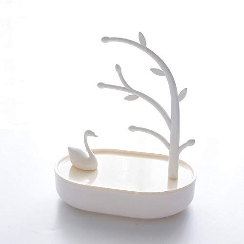 (2019 Desktop Organizer Swan Tray Earring Necklace Ring Small Jewelry Organizer Hanger Bathroom Bath Compartment Organizer with Lid Cube Box Container for Nightstand Over The Door Ornament (Yellow))