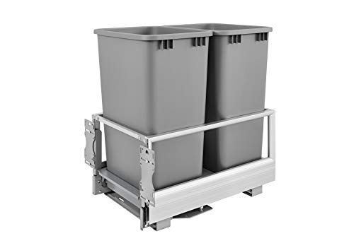 (Rev-A-Shelf Double 50 Quart Pullout Waste Container, Silver)
