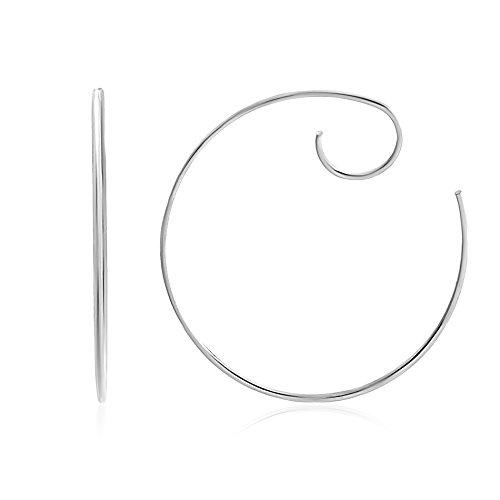 Lesa Michele Large Threader Style Spiral Hoop Swirl Earring