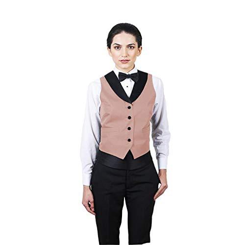 SixStarUniforms Women's Peach Full Back Tuxedo Vest with Black Lapel XX Large ()