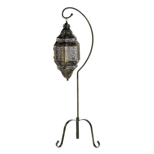 Gifts & Decor Tall Iron Moroccan Standing Metal Candle Lantern Stand (Stand Iron Tall)