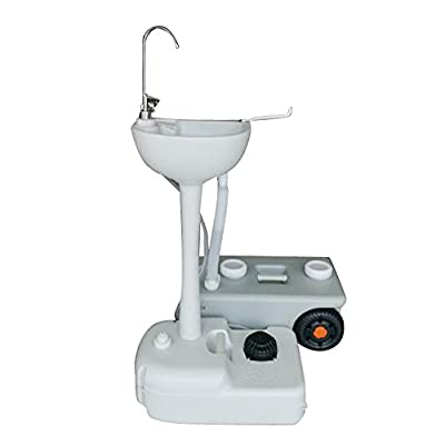 19L (5 gal) Portable Removable Outdoor Wash Basin with Faucet & Garden Pipe Joint White