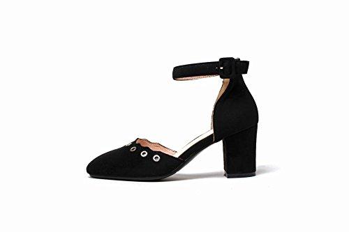 MissSaSa Damen Ankle-Strap Blockabsatz vierkant Spitze Pumps Schwarz