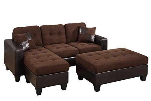 Poundex Reversible Sectional Sofa Set with Ottoman (Chocolate with Espresso Faux Leather Base) (Espresso Sectional)