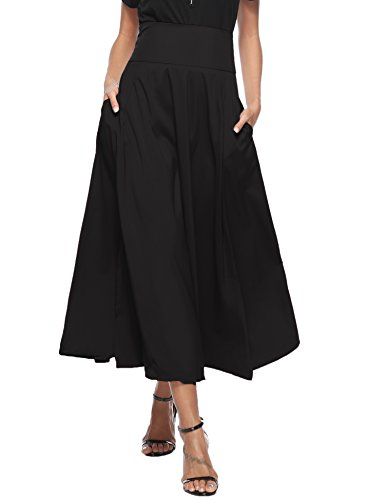 Aibrou Women High Waist A-Line Front Slit Pleated Belted Maxi Skirt with -
