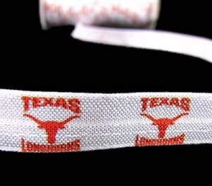 5 Yds Texas Longhorns College Football FOE Fold Over Elastic Ribbon for Hair Tie Florist, Flowers, Arts & Crafts Gift Wrapping
