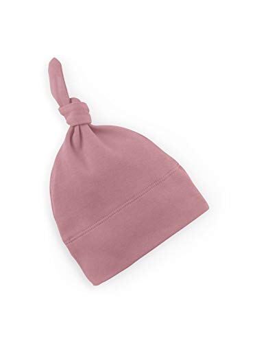 Colored Organics Baby Organic Cotton Knotted Hat - Infant Knit Cap - Newborn 0-3 Months Dusty Rose