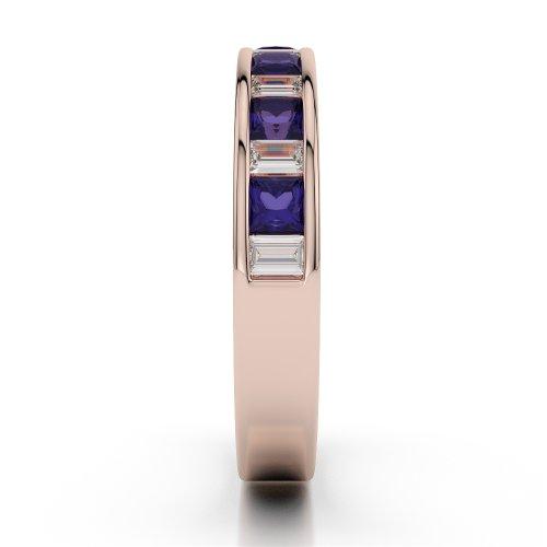 Or Rose 18carats 0,59CT G-H/VS Certifié Coupe ronde tanzanite et diamants Agdr-1143