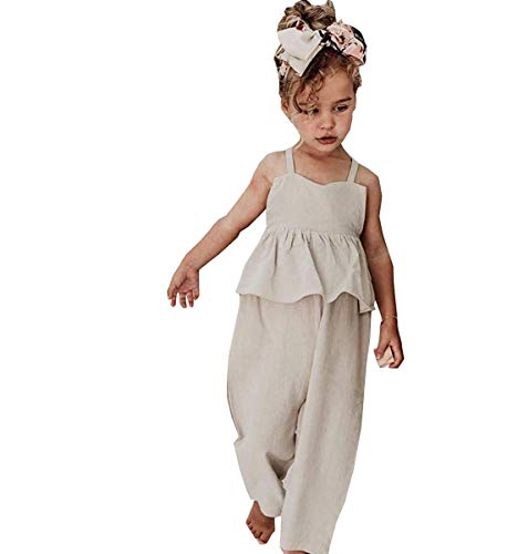 Noubeau Toddler Kids Baby Girl Sleeveless Ruffle Romper Jumpsuit Backless Playsuit Outfit Overalls(White, 3-4 Years)]()