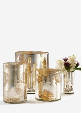 Silver Mercury Glass Cylinder Vases Set of 9