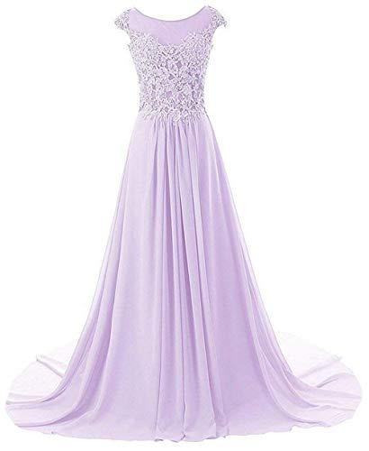 Damen A Abendkleider Lang Brautjungfernkleider Linie Ballkleid Chiffon Festkleider Lila OTTwPq