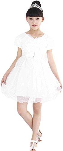 AvaCostume Girls Lovely Bowknot Gauze Dance Dresses, Latin Tutu, White, 5