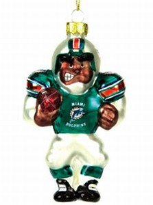NFL 4' Blown Glass African American Football Player NFL Team: Miami Dolphins - Nfl Glass Player Ornament