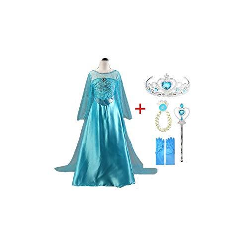 Girl Costume Long Sleeve Snow Queen Cosplay Dress Princess Anna Girls Clothes,Set1,4T -