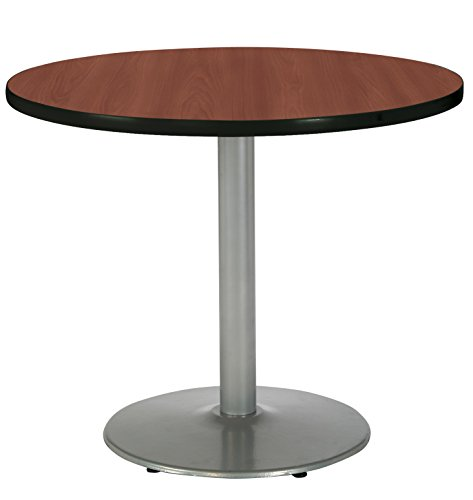 destal Table with Round Silver Base, Commercial Grade, 30-Inch, Dark Mahogany Laminate, Made in the USA ()