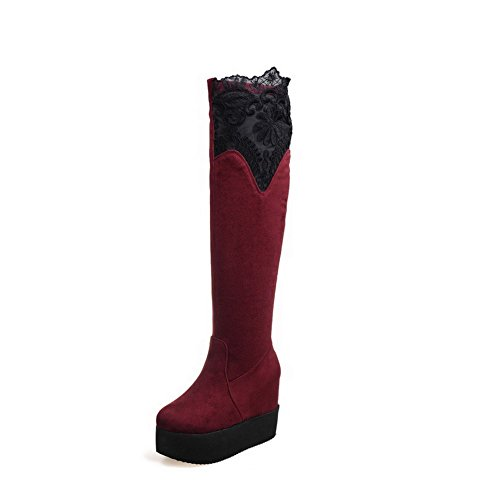 Round Red AmoonyFashion Womens High High Boots Solid Top Frosted Closed Heels Toe HH5rRP