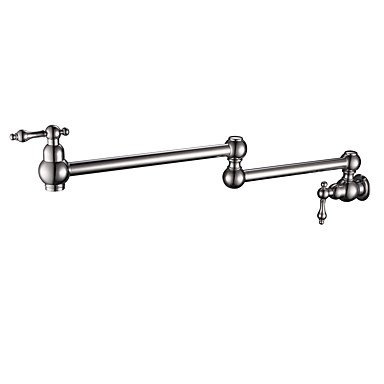 FUSHENG Antique Traditional Pot Filler Wall Mounted Pre Rinse redatable Ceramic Valve Two Handles One Hole Nickel Brushed, Kitchen Faucet