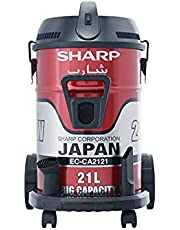 Sharp EC-CA2121-X Pail Can Vacuum Cleaner with Cloth Filter, 2100 Watt - Red
