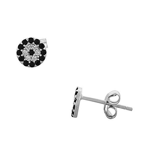 (925 Sterling Silver Black White CZ Hamsa Evil Eye Womens Girls Stud Earrings)