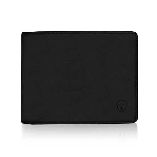 2 ID Window RFID Wallet for Men, Bifold Top Flip, Extra Capacity Travel Wallet (Charcoal Black - Distressed Leather, Medium)