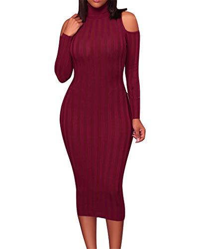 Jujube Rojo Otoño Color Sexy Moda Yojdtd Vestido Sólido nZYB1qY7w