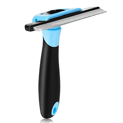Flexzion Dog Grooming Brush – Pet Cat Deshedding Comb Trimming Tool Supplies, Stainless Steel Safety Blade for Small…