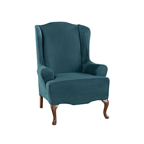 (Sure Fit Ultimate Heavyweight Stretch Suede Wing Chair Slipcover (Peacock Blue, Wing Chair))