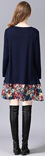 Alinfu Des Femmes De Robe Longue T-shirt Manches Robes Occasionnels Swing En Vrac Avec La Marine Garniture Florale