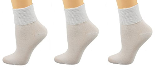 Sierra Socks Women's 3 Pair 100% Cotton Ankle Turn Cuff Seamless Toe (10, ()