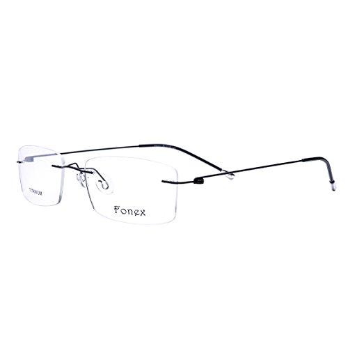 FONEX Screwless Rimless Memory Titanium Alloy Prescription Glasses Optical Frame 9201 (Black, - Frames Eyeglass Mens Rimless