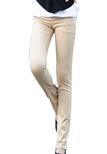 Fit Casual color De Botón Kaki Skinny Slim Bolsillos Size Casuales Color Micro Pantalones Mujeres 26 Sólido Con Acampanados Jeans Mujer RtaqxdBzw