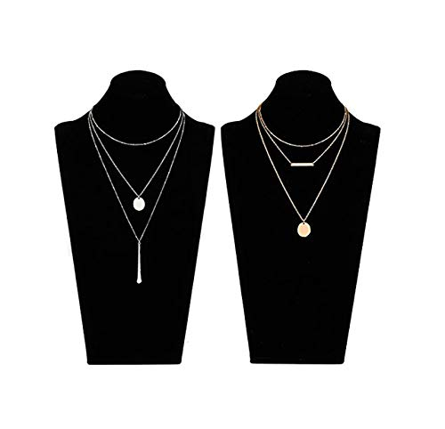 - LIAO Jewelry 2 Pcs Bohemia Layered Necklace Set Multilayer Choker Necklaces Simple Coin Bar Pendant Station Chain Necklace for Women (Gold + Silver)