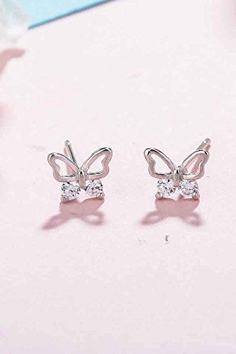 Generic era silver _butterfly_925_ silver _with_cubic_zirconia_ silver earrings Earring eardrop ear Nail women girl _sweet_little hair Clip,_the ear jewelry