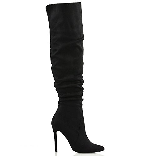 ESSEX GLAM Womens Stiletto High Heel Pointed Toe Slouch Ruched Black Faux Suede Knee High Boots 9 B(M) US by ESSEX GLAM