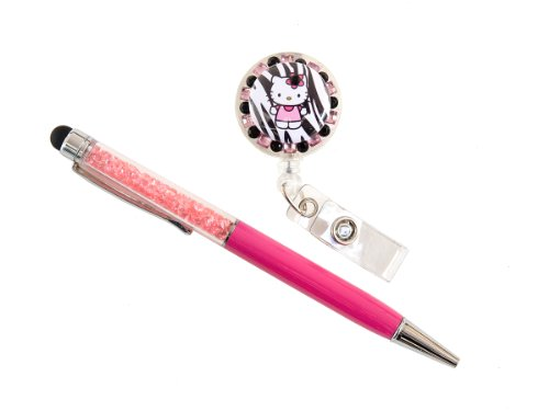 (Set of Rhinestone Retractable ID Badge Holder and Rhinestone Pen/Stylus (Zebra Kitty_Pink Pen))