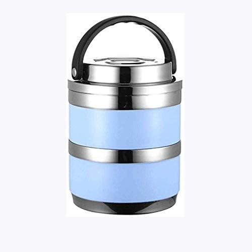 ポータブルステンレス断熱ランチボックス2層ランチランチボックス食品収納コンテナハンドル付き漏れ防止ランチボックス