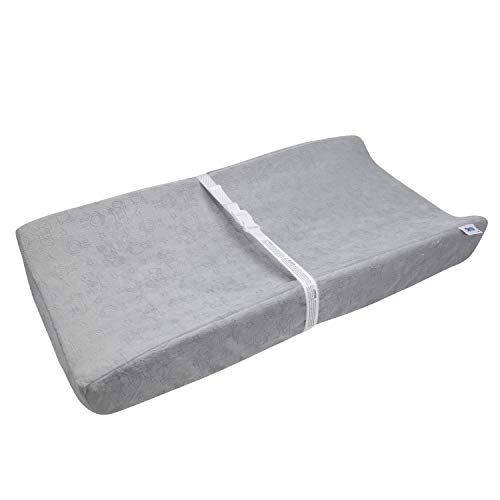 Serta Sertapedic Plush Contoured Changing Pad Cover Super Soft and Comfy for Baby, Grey