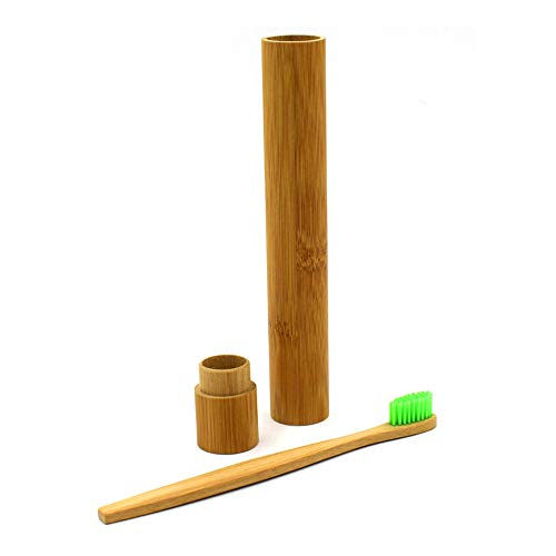 Euone  Bamboo Tube, Portable Natural Bamboo Toothbrush Holder Case Tube for Travel Eco Friendly Hand Made]()