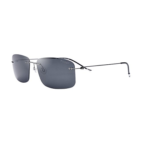 FONEX Women Rimless Titanium Alloy Sunglasses Men Polarized Sun Glasses 8203 (Gray/Gray, - Alloy Sunglasses