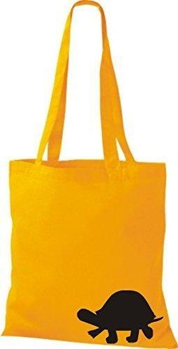 ShirtInStyle Bolsa de tela Bolsa de algodón divertida Animales Tortuga amarillo dorado