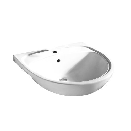 American Standard 9960.001.020 Mezzo Semi-Countertop Sink with Single Faucet Hole and Rear Overflow for 13-Inch Minimum Depth Countertop Sinks, White