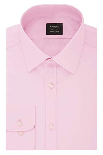Arrow 1851 Men's Slim Fit Dress Shirt Poplin, Beaujolais, 18