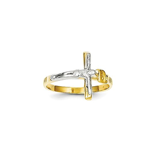Crucifix Ring in 14kt Tri Color Gold - Unisex Adult - Attractive 14kt Gold Crucifix Ring