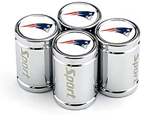4pcs Sport Metal Car Wheel Tire Valve Stem Caps with The Ball Team Logo Silver, fit New England Patriots