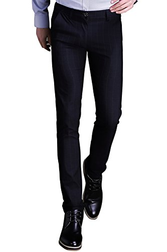 Black Custom Calf Accessories - INFLATION Mens Plaid Dress Pants, Wrinkle-Free Stretch Slim Fit Elastic Suit Pants Trousers,Black Pants Size 32