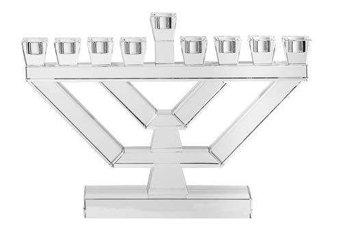 Copa Judaica Clear Crystal Menorah for Chanukah - for Standard Hanukkah Candles and Most Oil Cups - Tall Branch Menora Style - 8.25