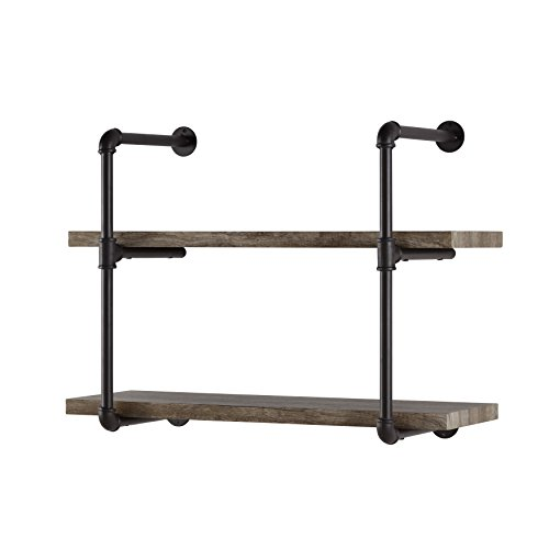 Danny B. GH072 Two-Tier Floating Metal Pipe Shelves with Aged Wood Finish - Wall Mount - Brown (Danya B Two Tier Industrial Pipe Wall Shelf)