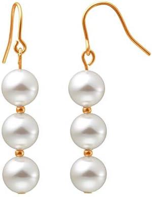 Heideman Ohrringe Damen Perlohrhänger mit 3 Perlen aus Edelstahl gold farbend matt Ohrstecker hängend für Frauen mit Swarovski Perle weiss/farbig rund 8mm
