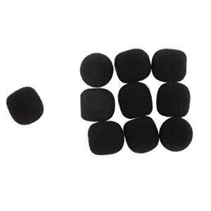 Veroda 10Pcs Small Microphone Windscreen Soft Sponge Cover Microphone Headset Cover - Yellow, 24mmx20mm Hook (black)