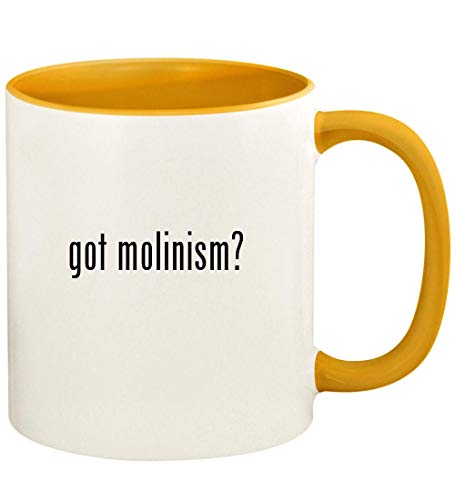 got molinism? - 11oz Ceramic Colored Handle and Inside Coffee Mug Cup, Golden Yellow